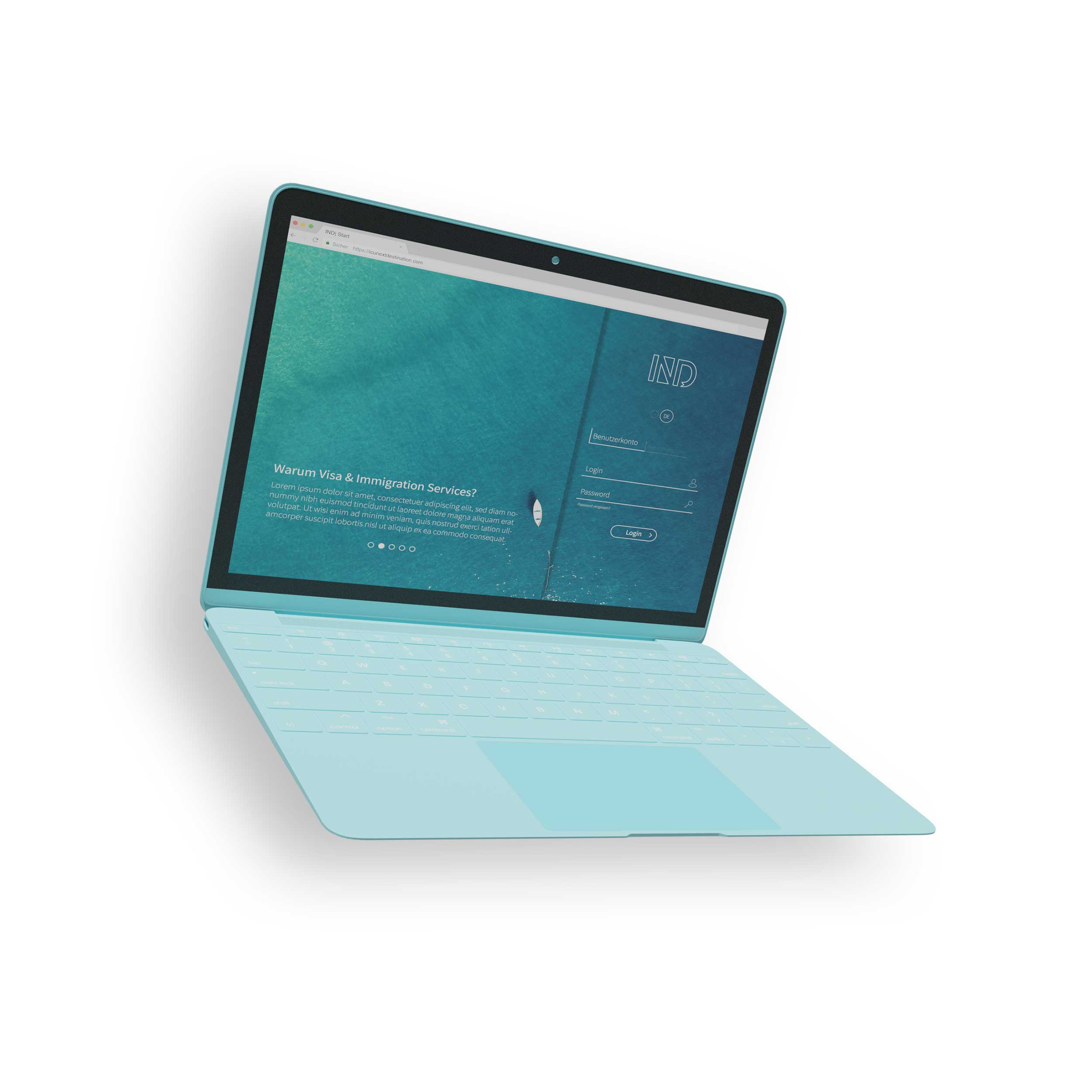 turquoise laptop with IND homepage
