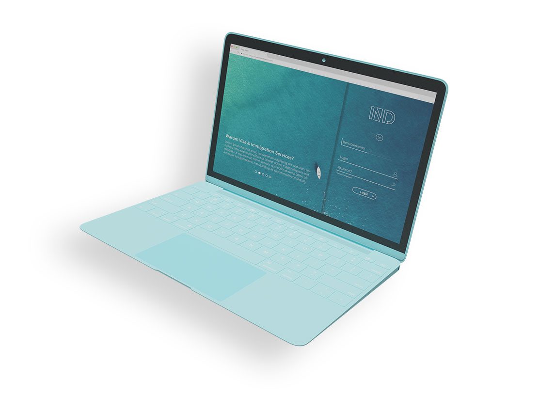 turquoise laptop showing IND homepage
