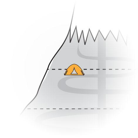 ICUnet Ausbildung Bergstation am Gipfel Illustration