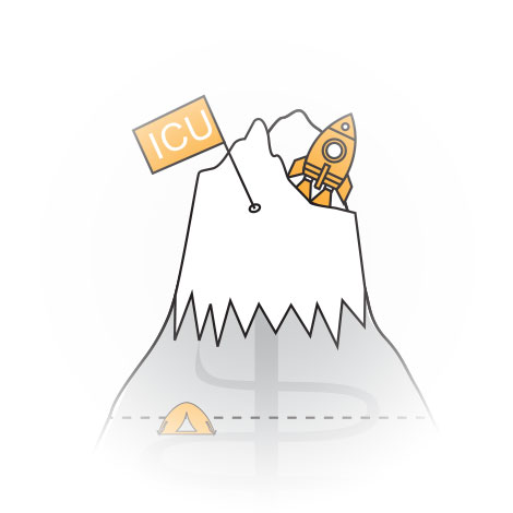 ICUnet Ausbildung Berggipfel Illustration